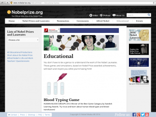 """Teachers will use the """"Educational"""" section most; see the """"List"""" option on the left for finding relevant Prizes and people; games are found just below, under """"All Educational Productions."""""""