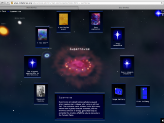 A standout for astronomy: this interactive tutorial includes stars, supernovae, and scientists.