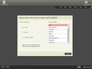 Users select a template to write with, including piano, guitar, and rock band.