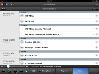 As a radio tool, the app gives users access to NPR's hourly news, audio programs, and live audio streams from NPR stations.