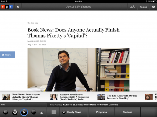 Articles include text, images, and video in addition to audio from NPR radio broadcasts.