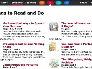 The Things to Read and Do section includes math articles and extension activities.