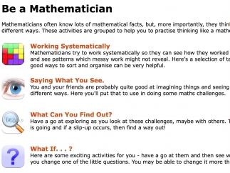 Problems are organized by critical-thinking categories rather than specific math skills.