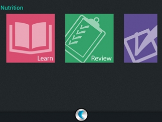 The three main sections in the app are Learn, Review, and Test.