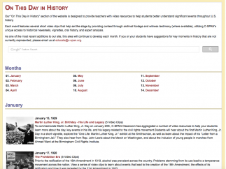 Explore the On This Day section to connect students to notable dates and anniversaries in US history.
