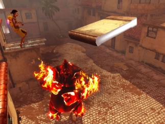 Tricky platforming sections involve dodging the raging monster