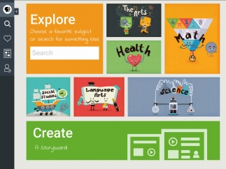 Browse through topic areas, search content by keyword, or get started on a storyboard.
