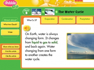 This water cycle article, with audio button to hear text, demonstrates supports.