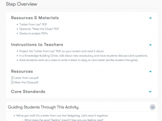 A more detailed outline guides teachers step by step through each lesson, including resources, discussion questions, and suggestions for adjusting the complexity level.