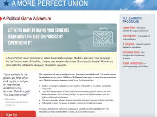 """""""A More Perfect Union"""" is a simulation game that lets kids follow a campaign through a series of videos and quizzes."""