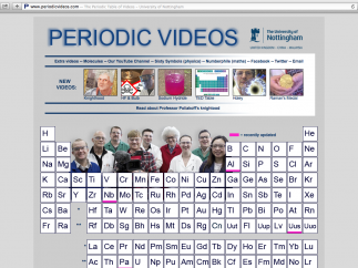 "Link to the 118 elemental videos via the periodic table or choose ""extra videos"" or ""molecules"" from the top."