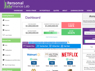 A dashboard gives an overview of students' stock portfolio.
