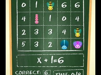 The easiest level requires kids to solve one-step addition equations.