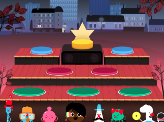 Kids scroll through the animated characters at the bottom, then drag and drop to platforms on the stage.