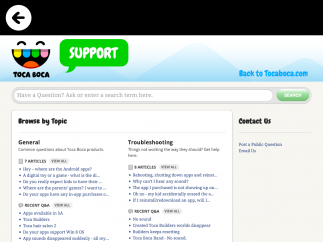 The developer's main support page offers a keyword search for support and find articles about the app.