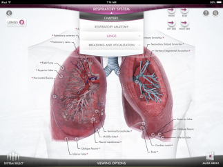 The 3D organ section has detailed information, and students can rotate the organ.