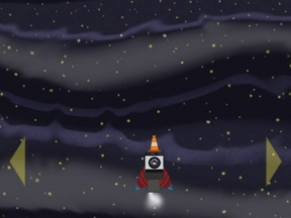 Once the map is completed and the parts collected, the rocket ship blasts off in a space-flight game.