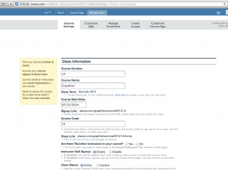 Under the Manage Class tab, teachers can personalize features; short tags explain choices.
