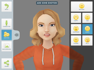 Tellagami videos allow users to choose their characters' emotional state, clothing, hair, and skin tone.