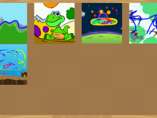 Gallery of work shows a coloring page second from the left at top and, just to its right, a drawing page with a space background using the Dice feature to get random effects and colors.