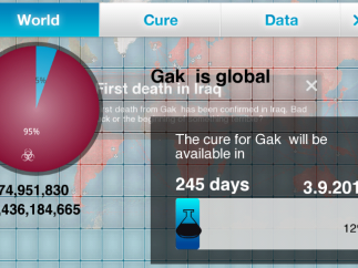 The world page shows number infected worldwide and remaining health (blue heart), a headline about the first death, and cure status.