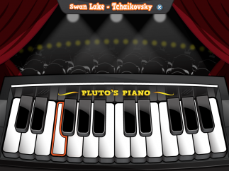 """Performance mode: Play songs """"on stage"""" and follow highlighted keys. Kids can earn points by playing the correct melody and tempo."""