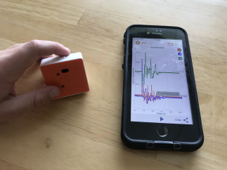 Small sensors pair with tablets or smartphones.