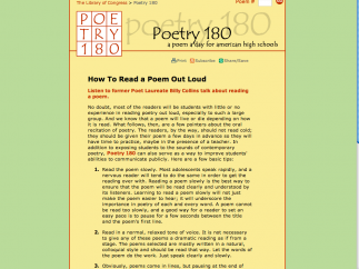 Collins provides a step-by-step guide for reading poems aloud.