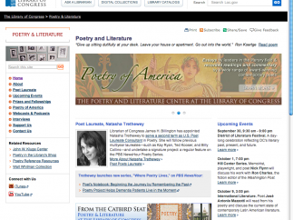 The site features a link to the LOC Poetry and Literature Center.