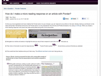 Screenshots and video tutorials support instructions for creating a reading response.