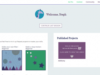 The Portfolio section shows all of your work and new project ideas to discover.