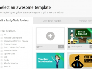 Create presentations from a template or from scratch.