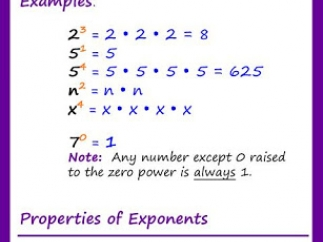 Explanation and examples for exponents.