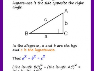 The Pythagorean Theorem with an explanation, some basic graphics, and an example.