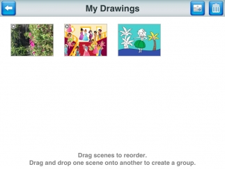 All drawings and stories are saved on the app, and can be saved to the device's photos to email.