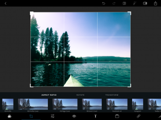 Many aspect ratio options for cropping, including custom settings for popular social media