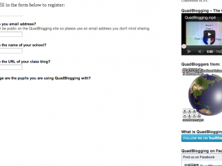 Teachers can register for upcoming QuadBlogging sessions on the site.