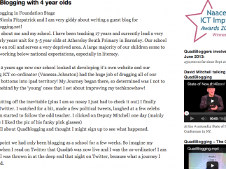 Several educators have shared their QuadBlogging experience on the site.