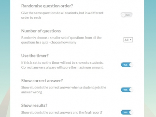 Customize quizzes, including offering them as in-class or homework assignments.