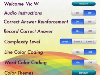 Settings page allows customizing for individual students.