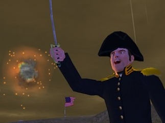 "The game shows kids what inspired ""The Star-Spangled Banner,"" such as this rocket's red glare."