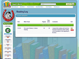 A reading log lets students track their progress.