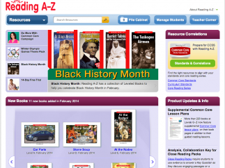 The homepage serves as the teacher dashboard, letting teachers search for texts and access support materials.