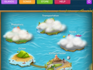 Each island has a different graphic theme and introduces different letters; the visitor's center is for grown-ups.