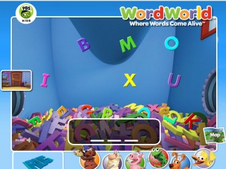 Letter game from Word World; kids must find the letters to match the sound they hear and spell a word