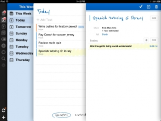 In the iOS version of the app, index card-like pages keep days, lists, tasks, and notes organized.
