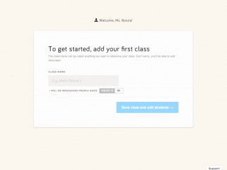 Adding a class is easy: Enter a name, receive a code, and invite students to join.