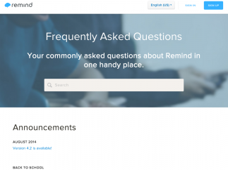 Remind offers support through the site's blog and its FAQ.