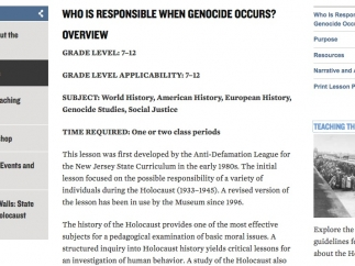 Here's an example lesson plan: Who is Responsibile When Genocide Occurs?