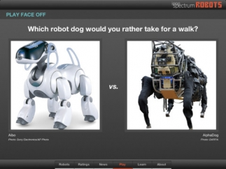 """Vote on robot-related questions in the """"Face Off"""" game."""